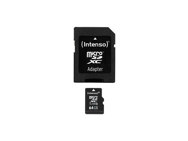 Intenso 64GB MicroSD Speicherkarte inkl. SD Adapter [Class 10]