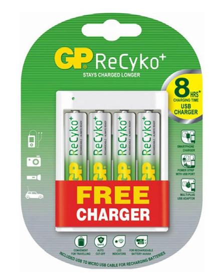 Image of 4x ReCyko+ AA + Free Charger
