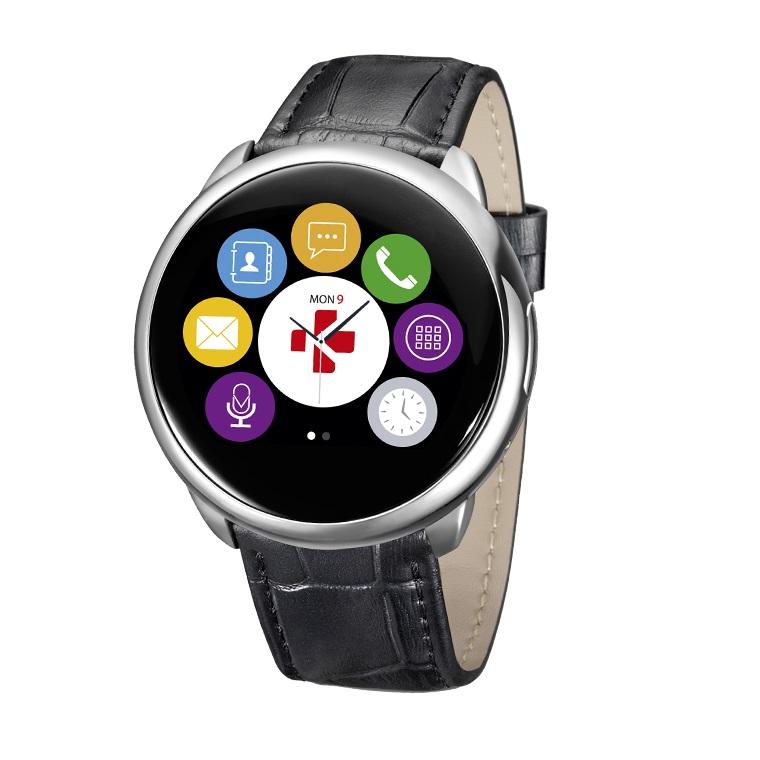 Image of MyKronoz smartwatch ZeRound leather/silicon - zilver/zwart
