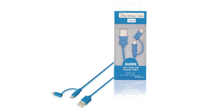 Image of 2-in-1 Data En Oplaadkabel USB Micro-B Male + Lightningadapter - A Male 1.00 M Blauw