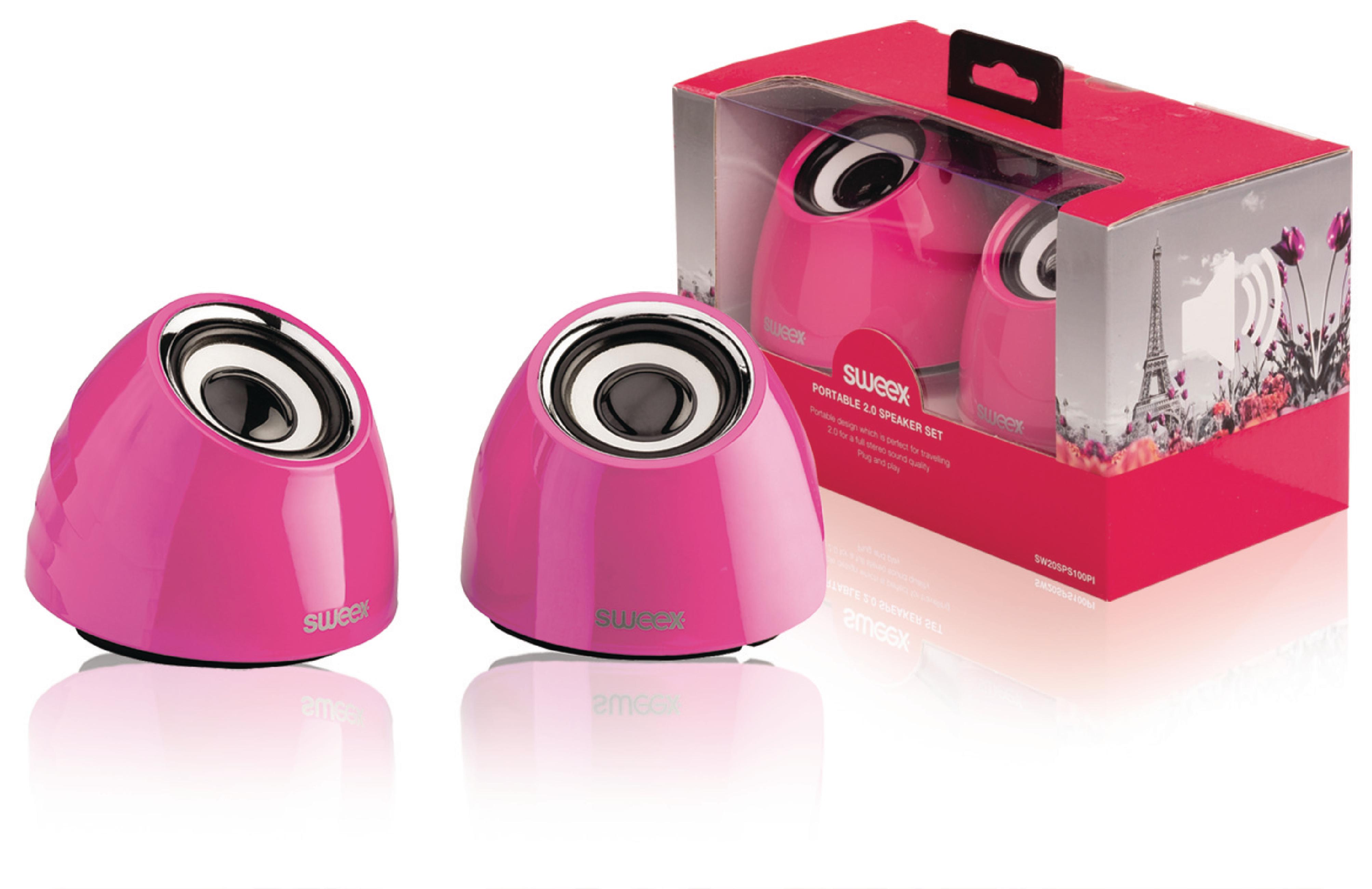 Image of 2.0 speakerset USB voeding 2x 3 W draagbaar roze - König