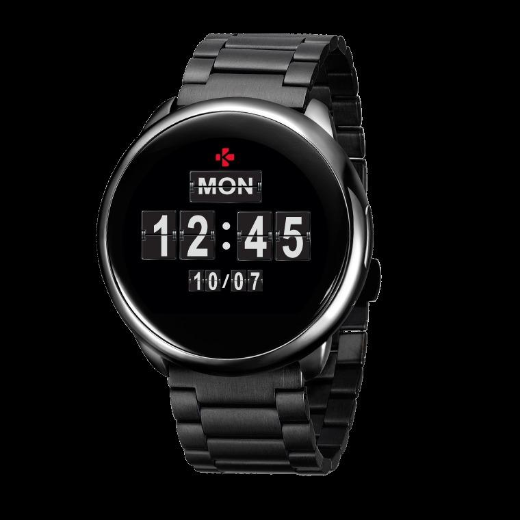 MyKronoz smartwatch ZeRound metal/silicon - zwart
